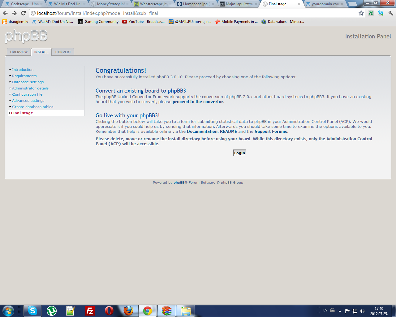 phpBB install.